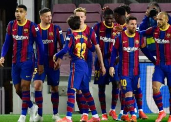 Barca edge closer to Atletico after late Dembele winner against Valladolid
