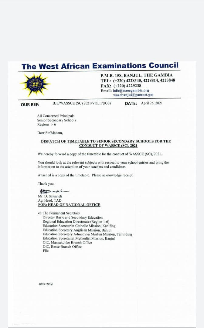 DOWNLOAD OFFICIAL WAEC 2021 TIMETABLE (UPDATED APRIL EDITION)