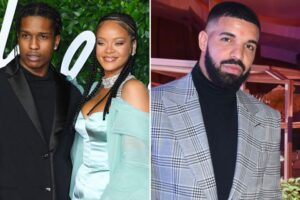 Rihanna Spotted Partying with Drake and A$AP Rocky.