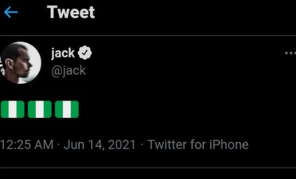 Twitter CEO, Jack Dorsey Tweets Nigerian Flag the Second Time