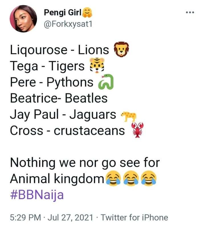 BBNAIJA Liquorose fans Presented with Names to Choose for Popularity (SEE LIST)