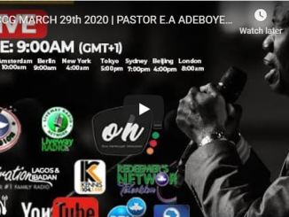 RCCG Sunday Live Service Pastor Adeboye March 29 2020