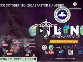 RCCG Sunday Live Service October 18 2020