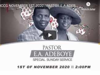 RCCG Sunday Live Service November 1 2020
