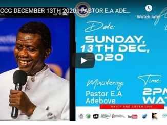 RCCG Sunday Live Service December 13 2020