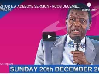 RCCG Sunday Live Service December 20 2020