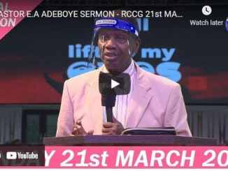 RCCG Sunday Live Service March 21 2021