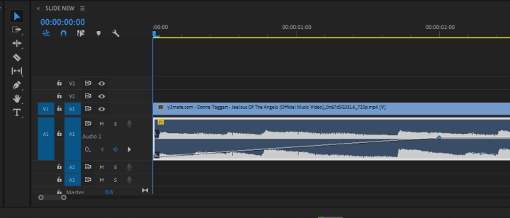 fade music in and out in Premiere Pro. Image of audio track with diagonal line.