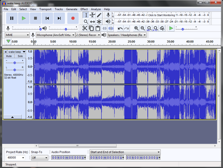 audio on timeline ready for noise reduction
