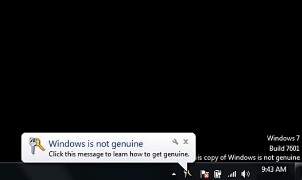 Notification screen: Windows is not genuine for window 7.