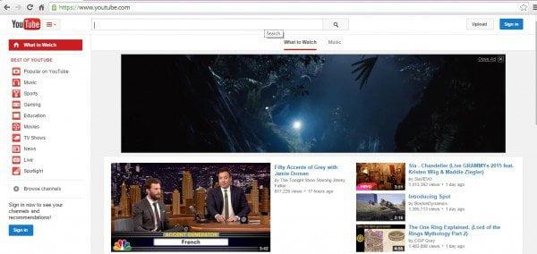 YouTube home chrome