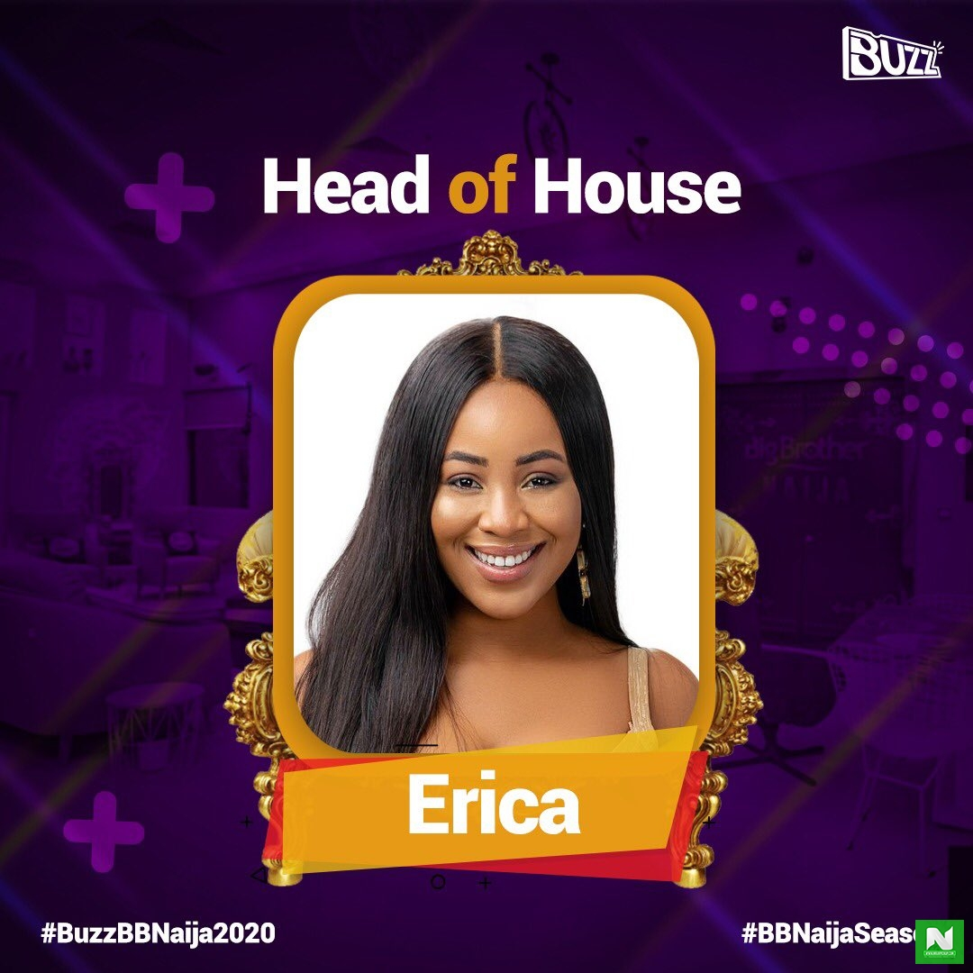 Erica Wins BBNaija Head of House Game for Week 4; Picks Kiddwaya as Her Deputy Over Laycon