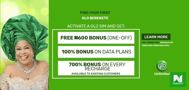 Glo Berekete - Get 700% Airtime bonus, Up to 5GB Free Data Every Month