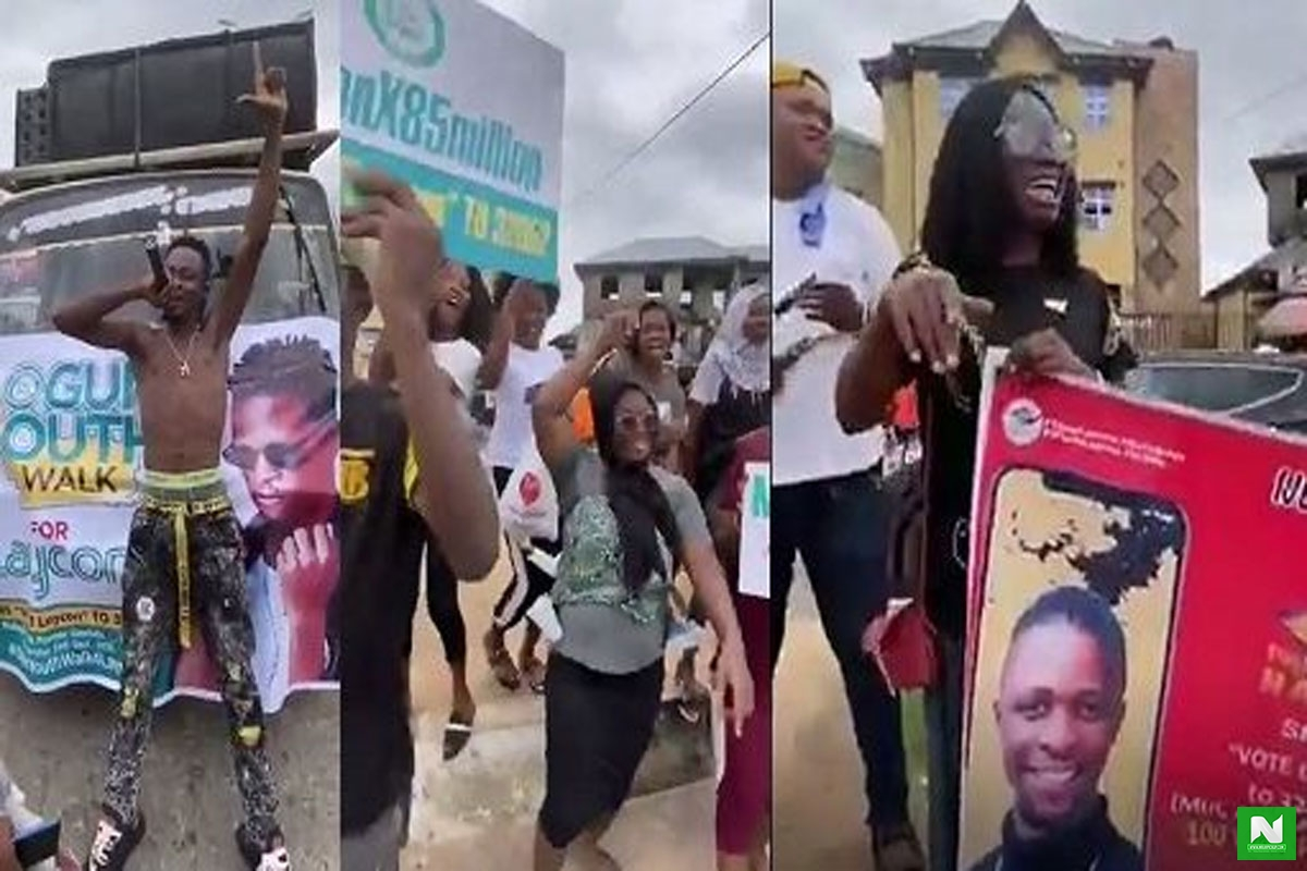 BBNaija: ICONS Hit The Street To Campaign For Laycon, Holds Mega Rally in Ogun State (VIDEO)