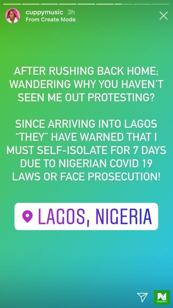 DJ Cuppy Reveals Why She Hasn't Been Seen Outside Protesting Since She Arrived In Lagos