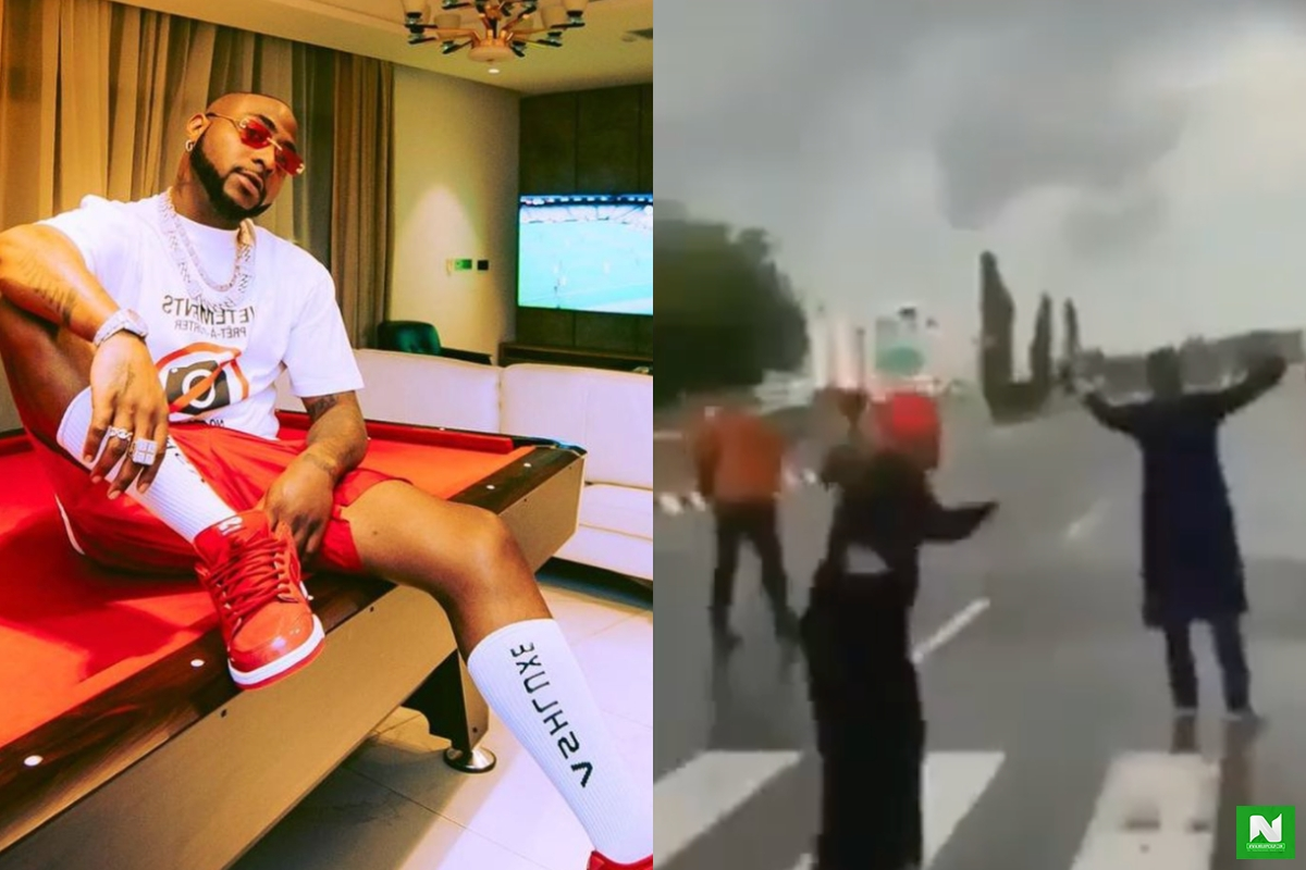 Watch Moment Fear Gripped Davido As He Nearly Ran Away After Hearing Gunshot During Protest