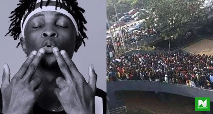 See Photos Of The Massive Crowd That Chased Laycon From One Radio Station To Another