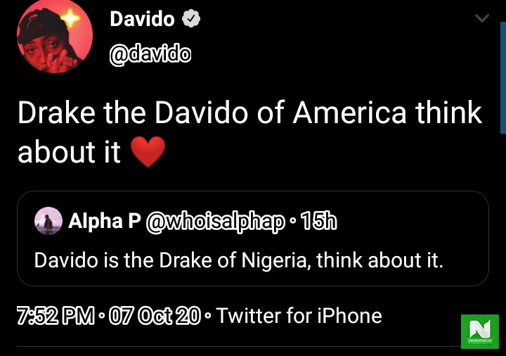 Davido Compares Himself to Drake