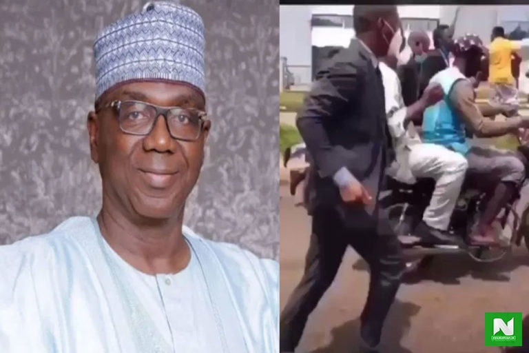 Kwara State Governor Allegedly Forced To Enter A Bike After #EndSARS Protesters Blocked The Highway