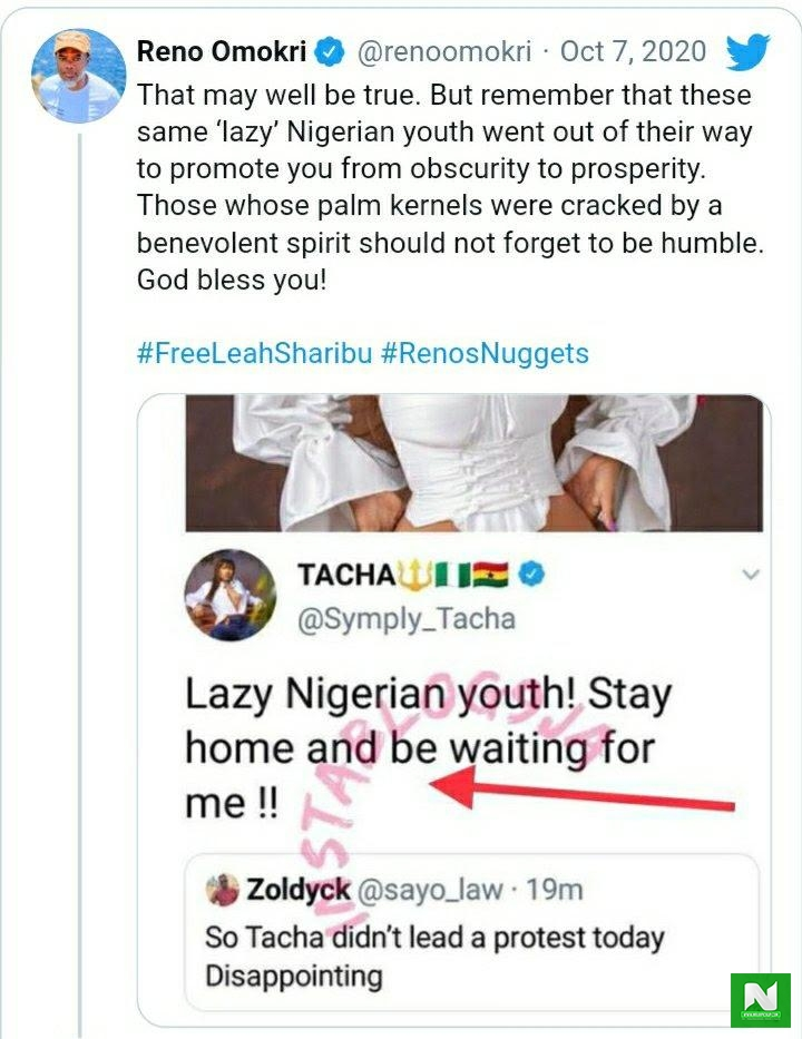 tacha tweet calling fan lazy youth, reno omokri react