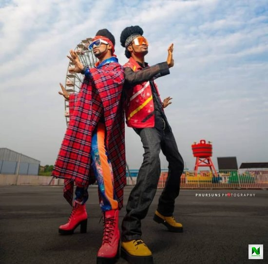 """""""Time To Start Questioning Our Parents"""" – Denrele Edun Happy As He Meets His Lookalike"""