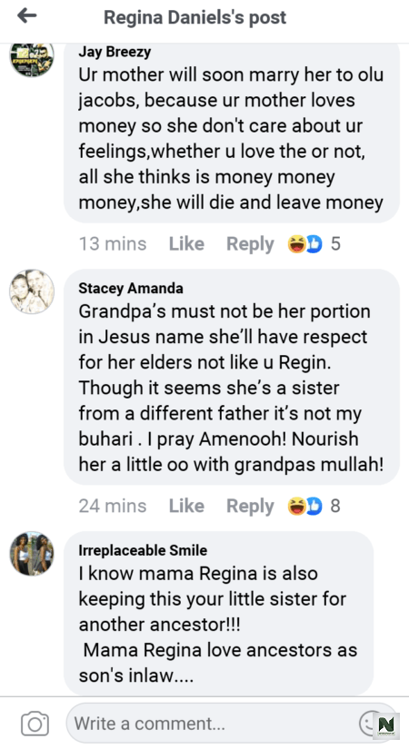 """Your Mother Will Soon Marry This One To A Grandpa""""- Fans Blast Regina Daniel"""