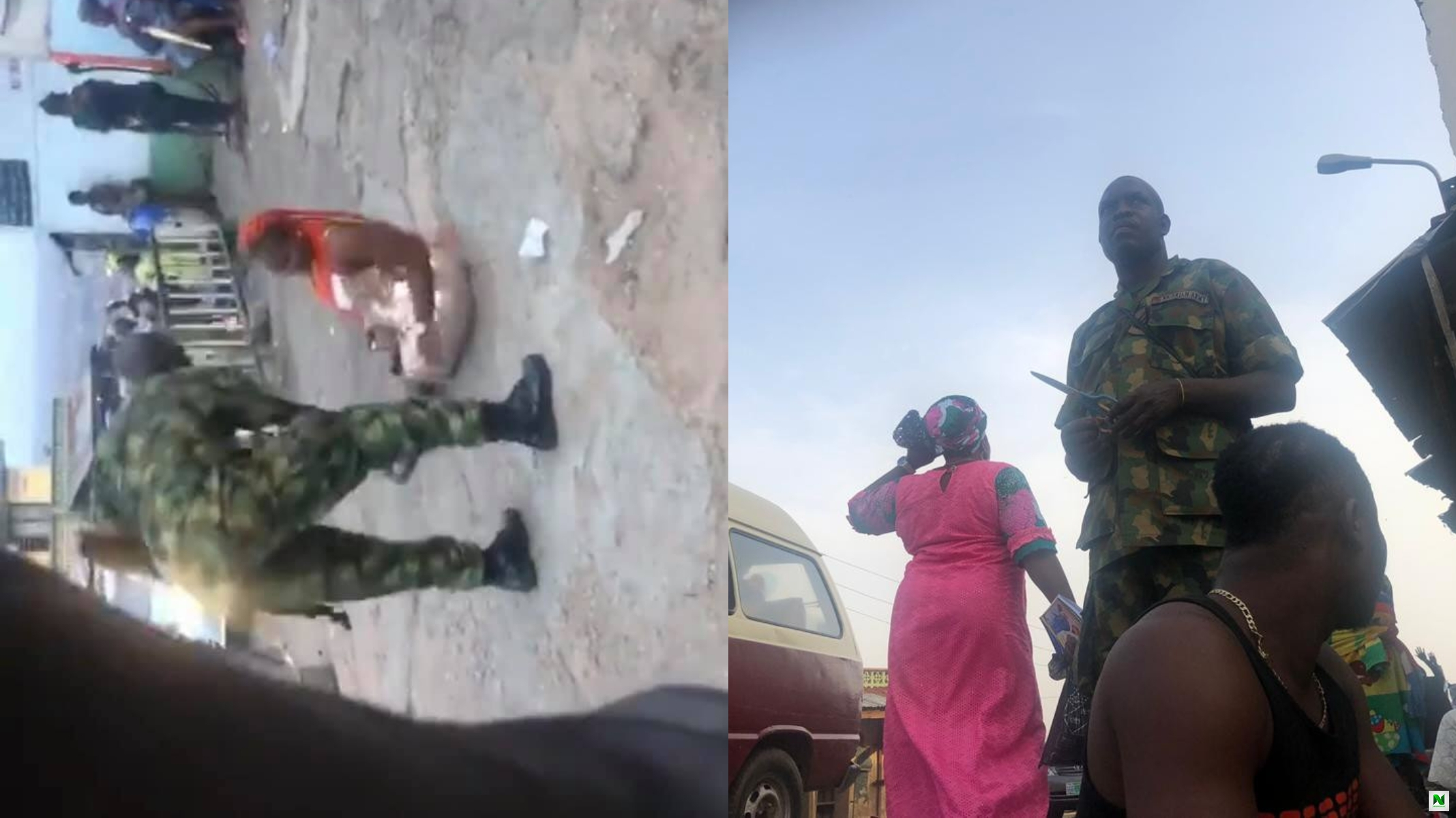 Video: Soldier Harasses Citizens In Ibadan, Extorts Them And Beats Woman For Dressing Indecently