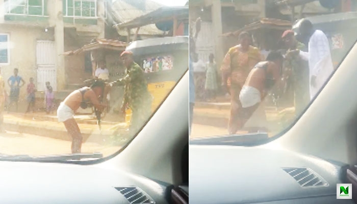 Soldier Beats & Disgraces A Lady For Indecent Dressing In Ogun State (Photo)