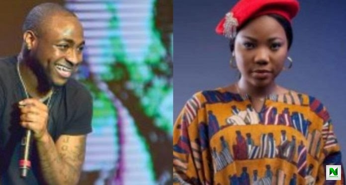 Davido Praises Mercy Chinwo, Says Her Songs Uplift His Soul; She Responds (Photos)