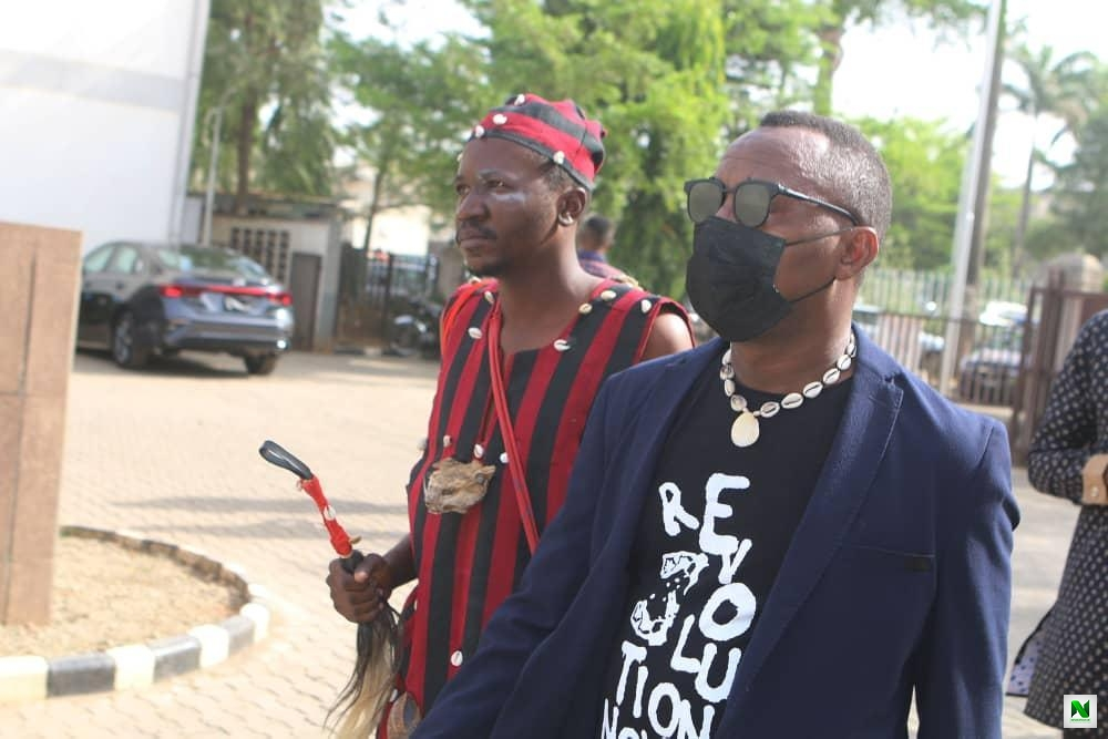 This Is Serious! Man Dress Up With Juju (Babalawo) Follows Sowore To Court (Photos)