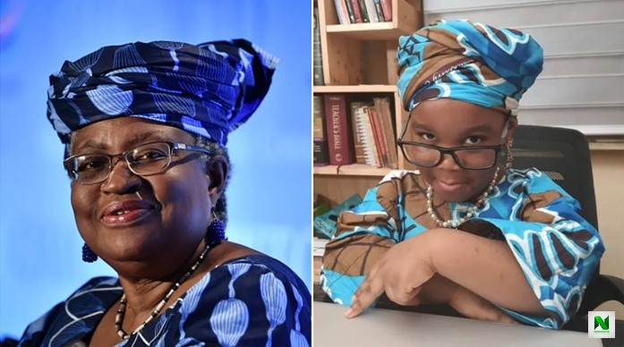 Okonjo-Iweala Sight And Acknowledge 4-Year-Old Girl Who Dressed To Look Like Her (Photo)