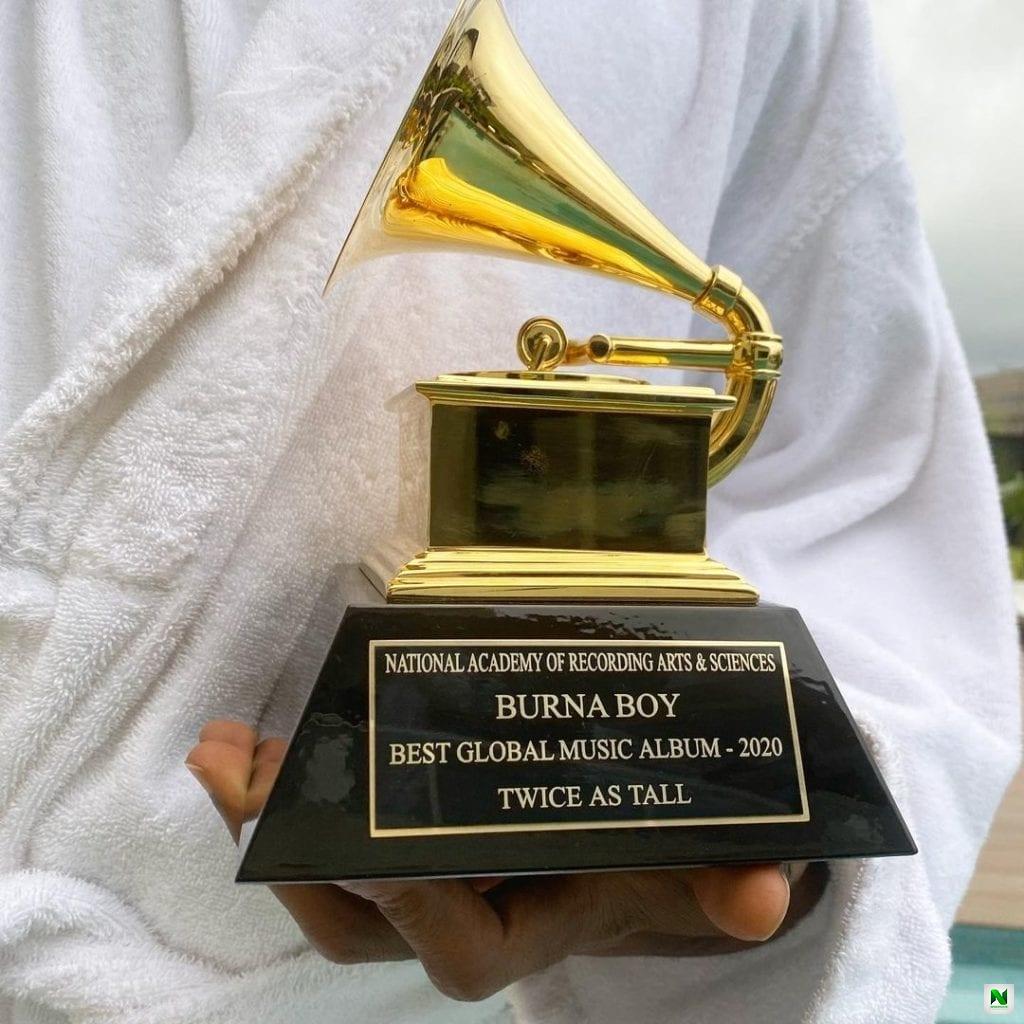 Wizkid Finally Receives His Grammy Plaque