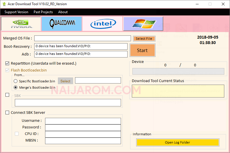 Acer Download Tool v19.02
