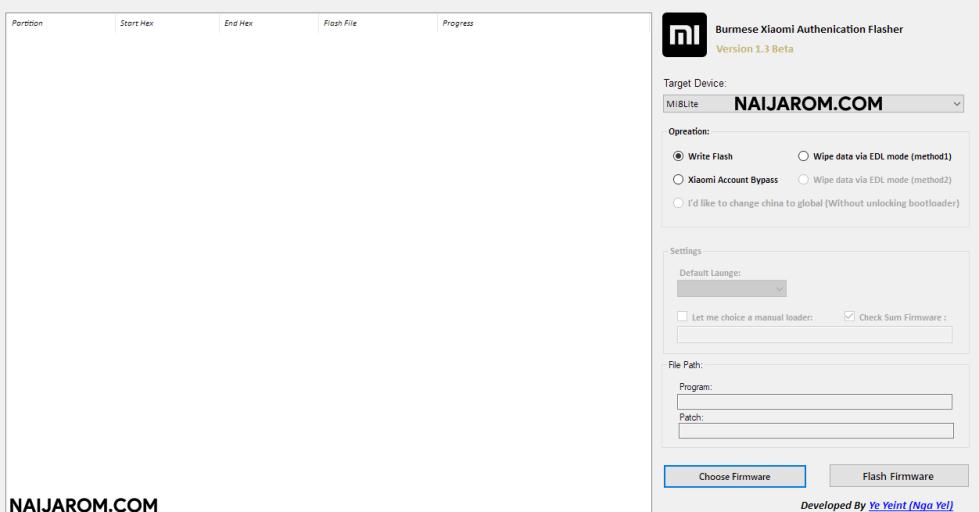 Burmese Xiaomi Authenication Flasher v1.3