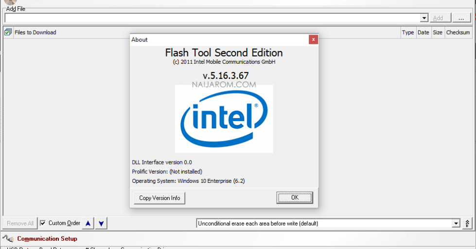 Intel Flash Tool E2 v5.16.3.67