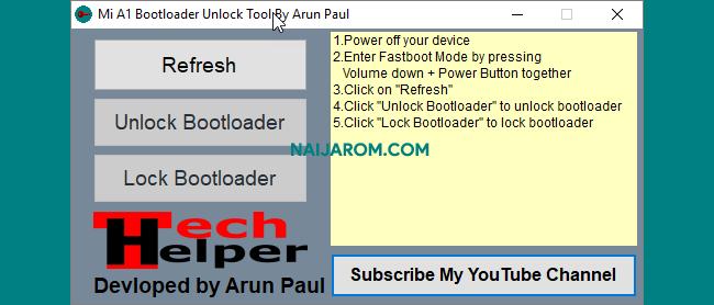 MI A1 Bootloader Unlock Tool