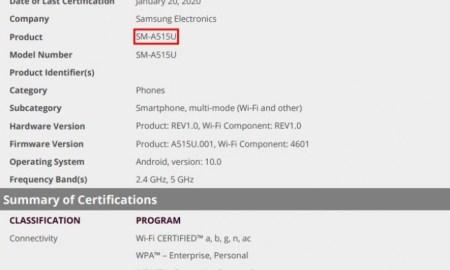 US Galaxy A51 Wi-Fi certification