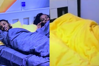 #BBNaija2020: Watch Brighto And Wathoni Engage In Aggressive KNACKING Under The Duvet In Broad Daylight Again! (Video)
