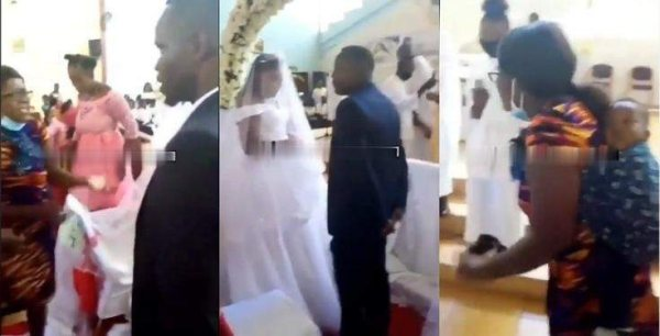 Bride In Tears As Lady Storms Wedding With Her Children, Claims She Is Already Married To The Groom With Kids (Video)