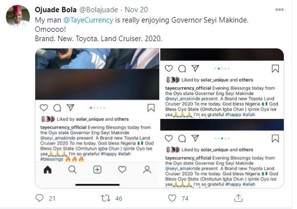 Oyo Governor, Seyi Makinde Buys Taye Currency A Brand New Car (Photos)