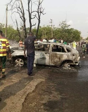 Tanker Explosion Video Nollywood star loses car in abeokuta