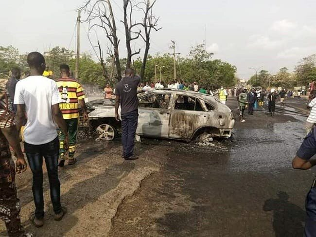 TANKER EXPLOSION VIDEO: Nollywood Star Loses Car in Abeokuta, Colleague Cries Out