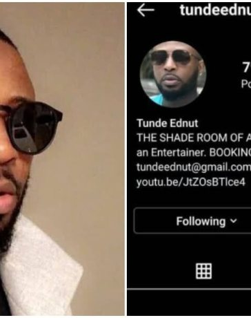 Tunde Ednut has Instagram account banned a second time