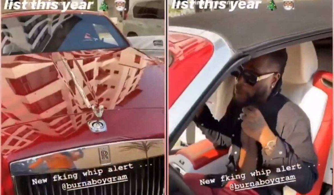 AFRICAN GIANT! Burna Boy Shows off N133m Rolls Royce, Other Luxury Cars