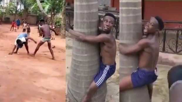 Man Flogged In Public For Beating Up His Mother In Anambra (Video)
