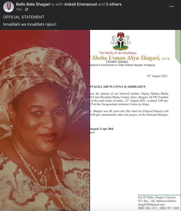 Former Nigerian First Lady Dies Of COVID-19 in Abuja (Photo)