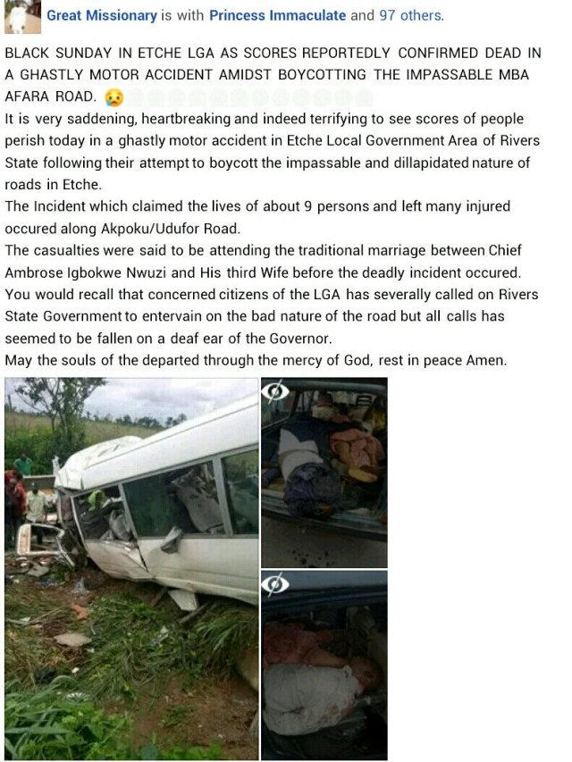 13 Wedding Guests Including Groom's Brother, Sister-in-law Killed In Fatal Accident In Rivers