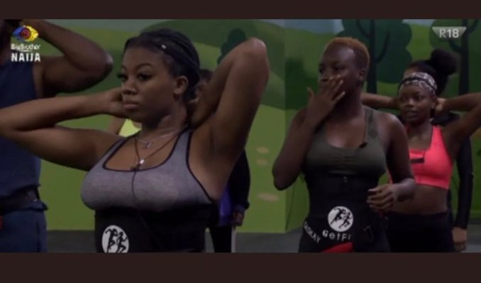 Watch the Big Brother Naija housemates enrol in a heat morning work out