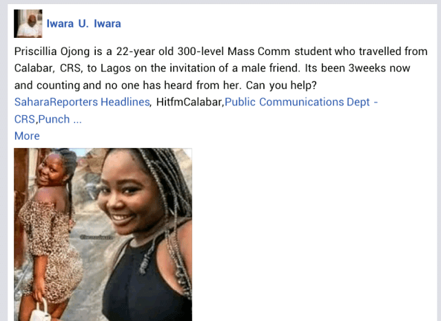 22-year-old Cross River varsity student reportedly missing for 3 weeks after she left Calabar to visit male friend in Lagos