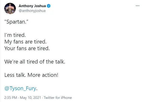 Time for action, Anthony Joshua tells Tyson Fury ahead of fight